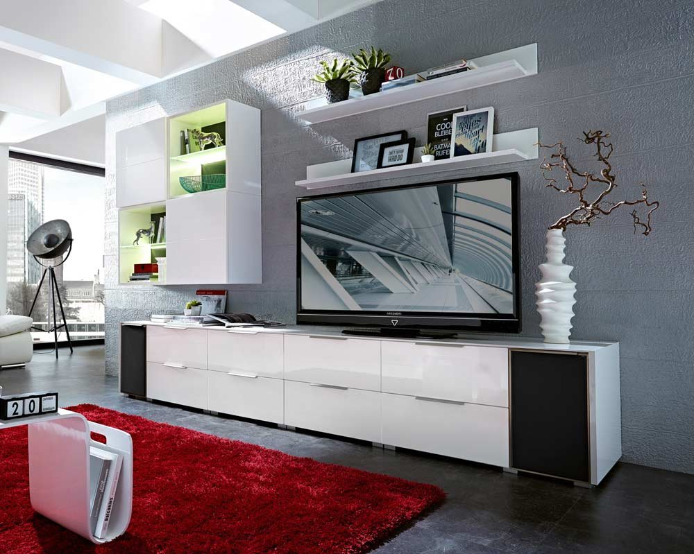 10-tlg Wohnwand in Hochglanz weiß/grau mit Akustik-Fächern und LED-Beleuchtung, Gesamtmaß B/H/T ca. 330/190/51 cm