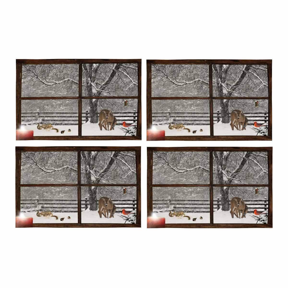 InterestPrint Mother Baby Deer Baby Squirrels Chickadees Snowstorm Farm House Window Placemat Place Mat Set of 4, Table Place Mats for Kitchen Dining Table Restaurant Home Decor 12''x18''