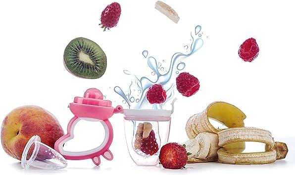 Tinouclo lot de 2 Grignoteuses BLEU ET ROSE 6 Tetines 3 /à 24 mois//Silicone alimentaire sans BPA//Tutute /à fruit pour bebe//Anneau de dentition mangeoire//Sucette ergonomique//Cadeau Naissance//Norme CE