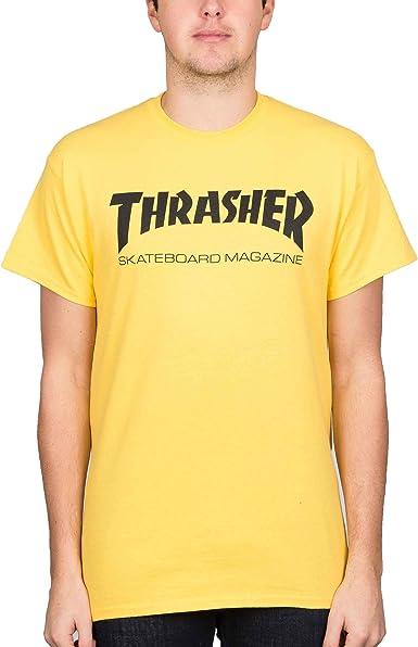 THRASHER Skate mag Logo tee Yellow.: Amazon.es: Ropa