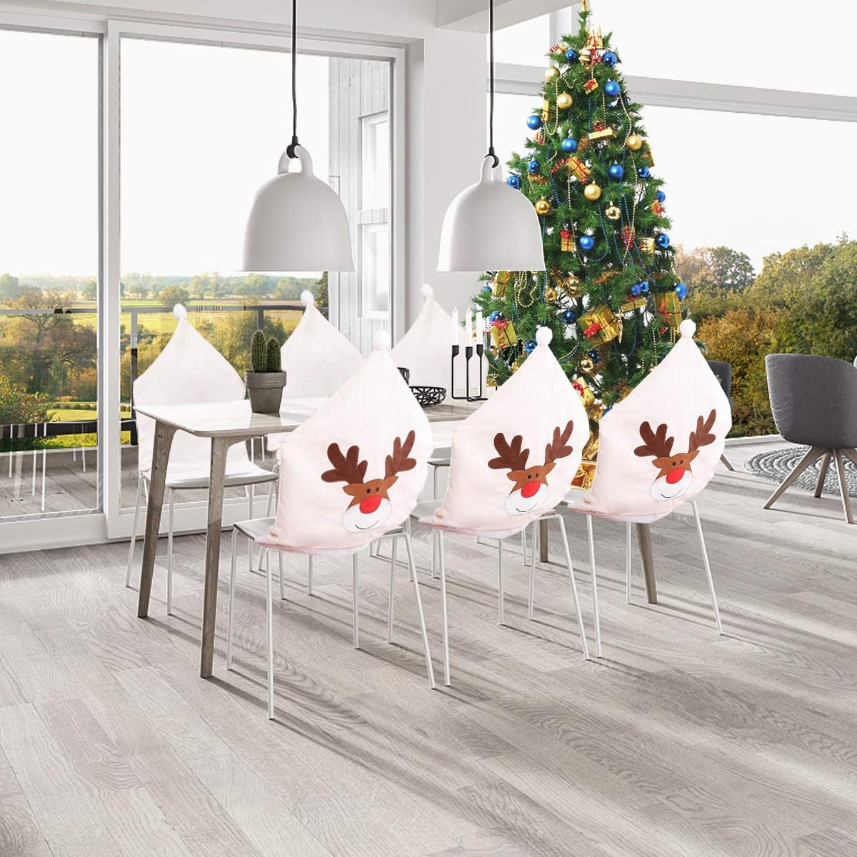 Swiftion 2020 Christmas Ornament Chair Covers Set of 6, Deer Xmas Decor Dining Chair Slipcovers, Office Santa Claus Hat Design Chair Back Cover