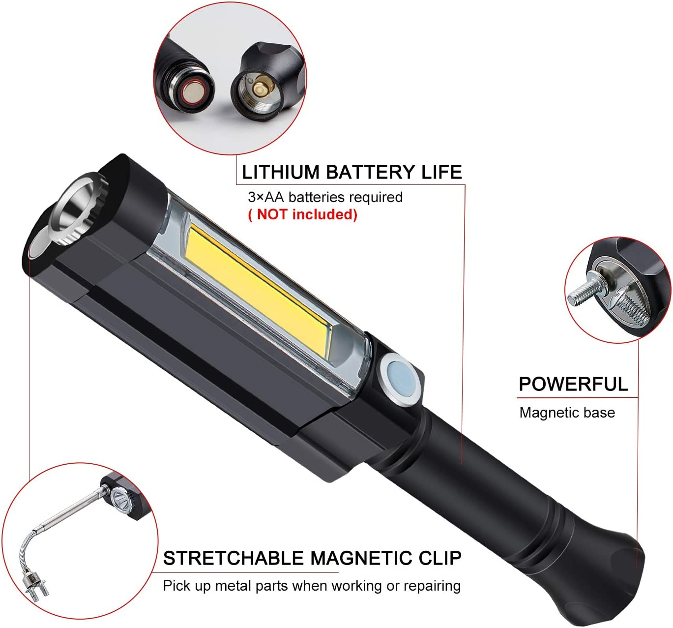 Work Light LED Flashlight Lantern Inspection Lamp Camping Light 3W COB LED Lamp Magnetic Base and Clip for Household Workshop Automobile Camping Emergency Use