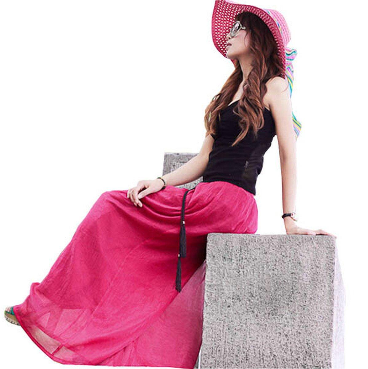 Joyci European High Waist Wide Split Skirt Culottes Pants (Style a Rose Red)
