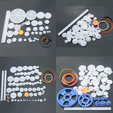 Plastic Gears Kit Pulley Belt Shaft Robot Motor Worm Crown Hand DIY Car Toy Sets