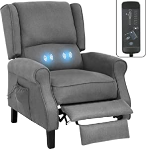 Recliner Chair Massage Recliner Winback Reclining Chair Home Theater Seating Modern Easy Lounge with Fabric Padded Seat Backrest for Living Room Sofa Single Sofa Reading Chair