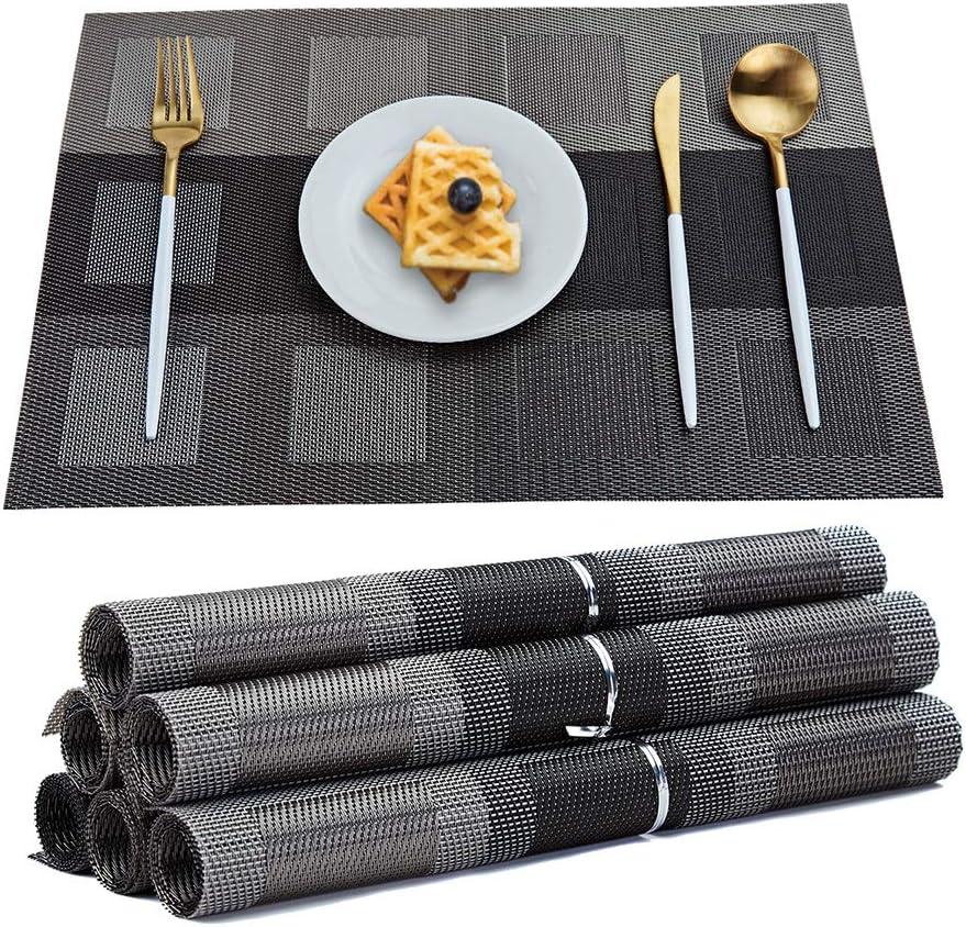 RICHTOP - Juego de 6 manteles Individuales de Vinilo Tejido, Aislante de Calor de PVC, Antimanchas, Antideslizantes, decoración de Mesa de Comedor de Cocina