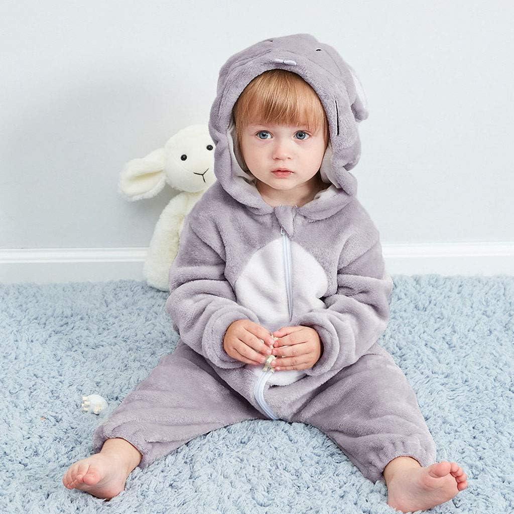 OPAKY Bebé Recién Nacido Niña Niño Dibujos Animados Animales con Capucha de Franela Mameluco Mono Ropa de Abrigo Pijamas de un Pieza Pijama Unicornio ...