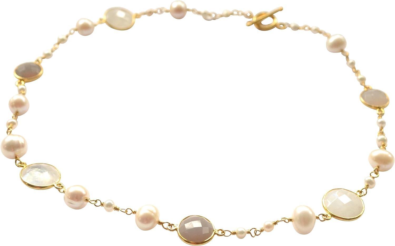 Cuentas de piedras preciosas Mix: Ornamentales fantástico liche Corto Cadena con Perlas de agua dulce blanca, hellblauen Luna piedras y hellgrauen achaten