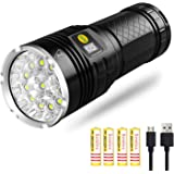 Semlos Led Flashlight 10000 Lumens, Super Bright 12 LEDs Tactical Flashlight with Power Display and 4x18650 Rechargeable Lithium Batteries