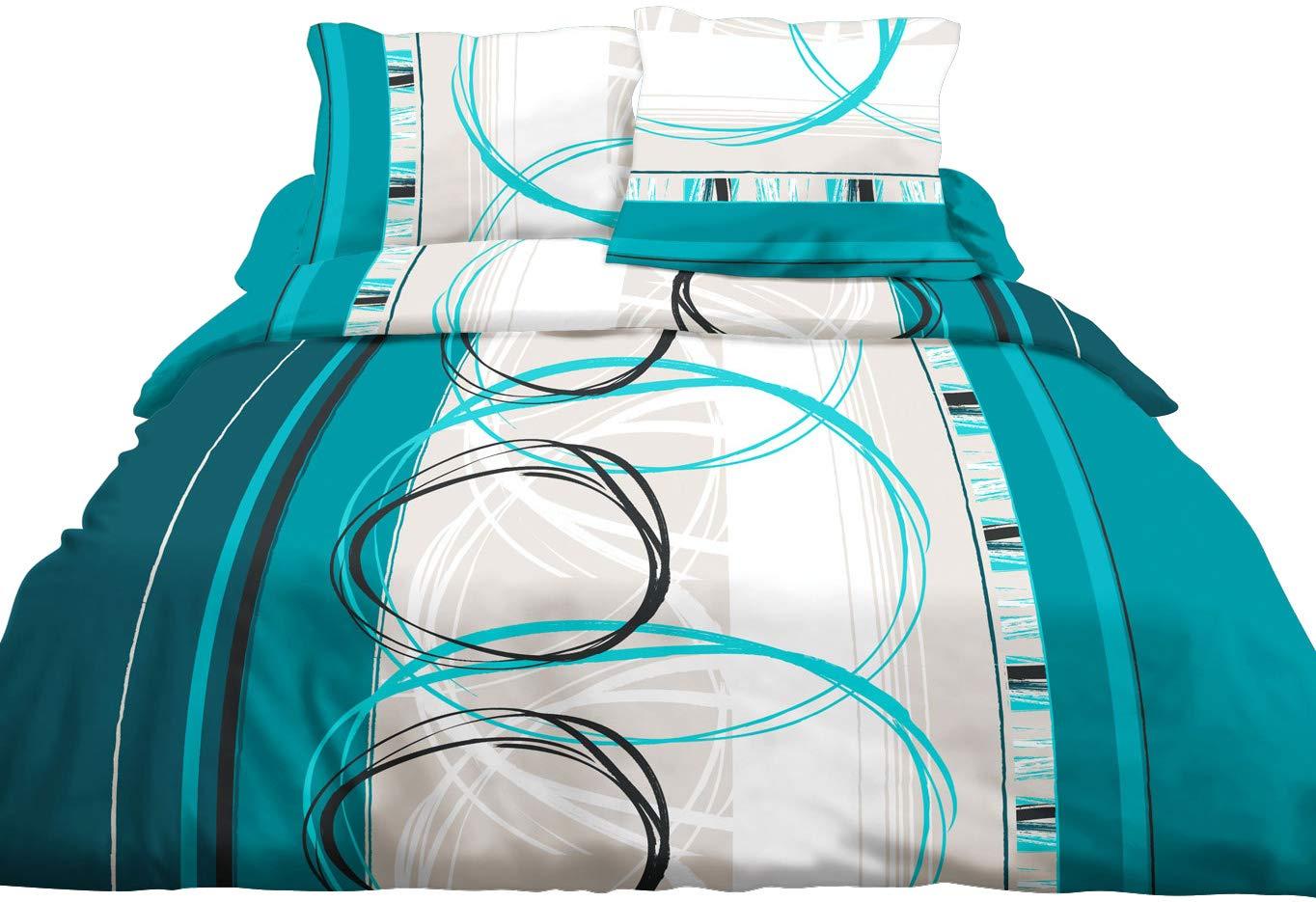 2 T Roue L Turquoise Drap-Housse 140x190 Le linge de Jules Parure Drap Plat Pur Coton 57 Fils