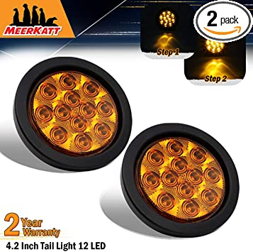 6 Inch Oval Clear Lens Amber LED Indicator Trailer Tail Light Turn Signal Clearance Lamp Good Design Energy Saving Jeep Truck Pickup Lorry Camper Bus RV Tow 12v DC Universal DK12 Meerkatt Pack of 2