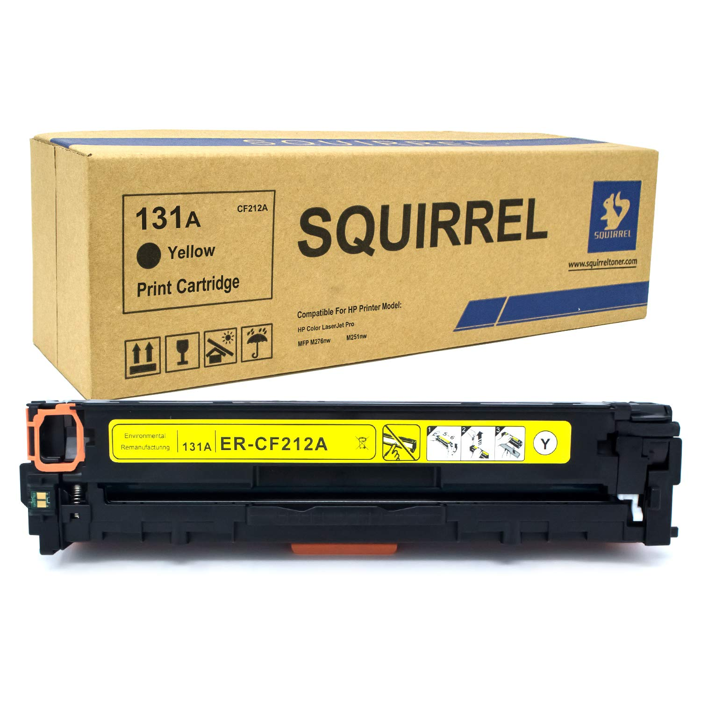 SQUIRREL 131A - CF212A Cartucho de tóner Compatible CF210A CF211A CF212A - CF213A para Impresora HP Laserjet Pro 200 Color MFP M276nw MFP M276n M251nw (Negro, Cian, Amarillo, Magenta), Color Amarillo 9f0ed3
