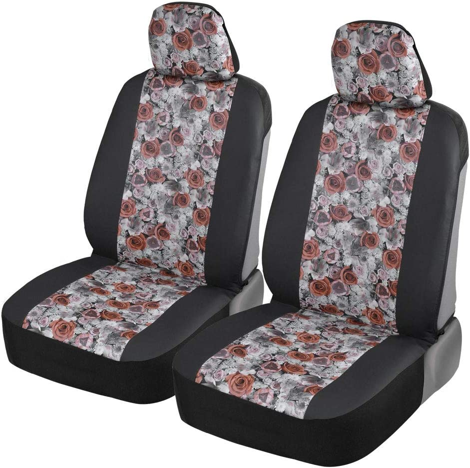 BDK Rose Flowers Seat Covers for Car SUV Van Truck - PU Leather Front 2 Piece Set Compatible with Armrest and Airbag - Easy Installation