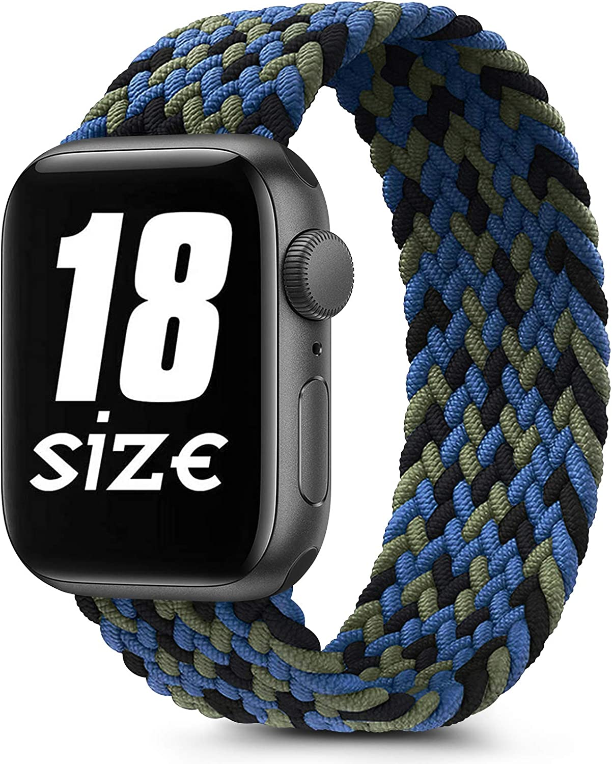 Braided Solo Loop Elastic Bands Compatible with Apple Watch 38mm 40mm 42mm 44mm, Soft Stretchy Sports Wristband for iWatch Series 6 5 4 3 2 1 SE (42mm/44mm-M, Camouflage Blue)