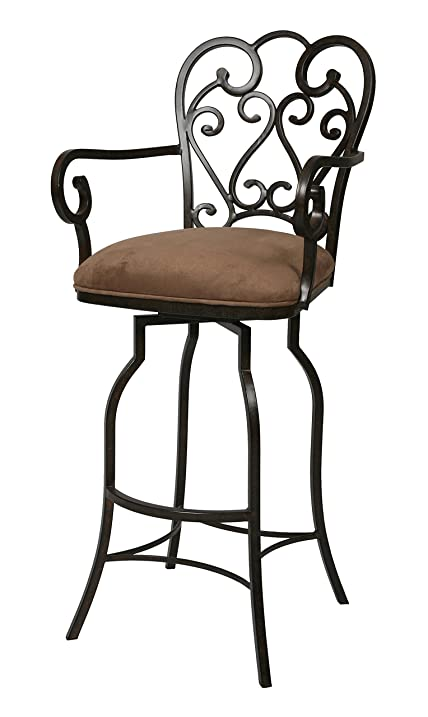 Pastel Furniture Magnolia Rust 26u0026quot; Arm Swivel Bar Stool In Moccasin