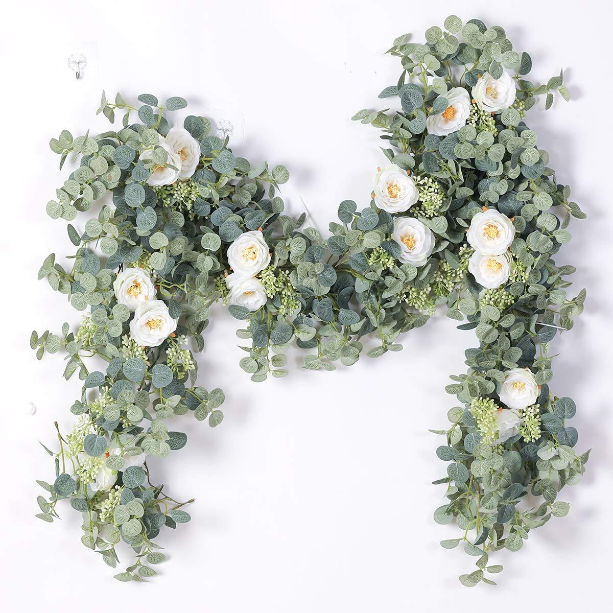 "LESHABAYER Artificial Silk 7.2Ft Sunflower Vine Rattan 5/"" Flowers Cane Garland 2"