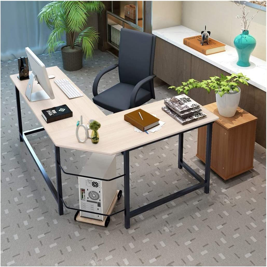 US Fast Shipment - LINGDANG L-Shape Corner Desk Computer Gaming Desk Table - Home Office Corner Desk Computer Table - Steel Wood Study Office Desk Workstation - Beige - 63.7 x 30.3 x 29.1 inches