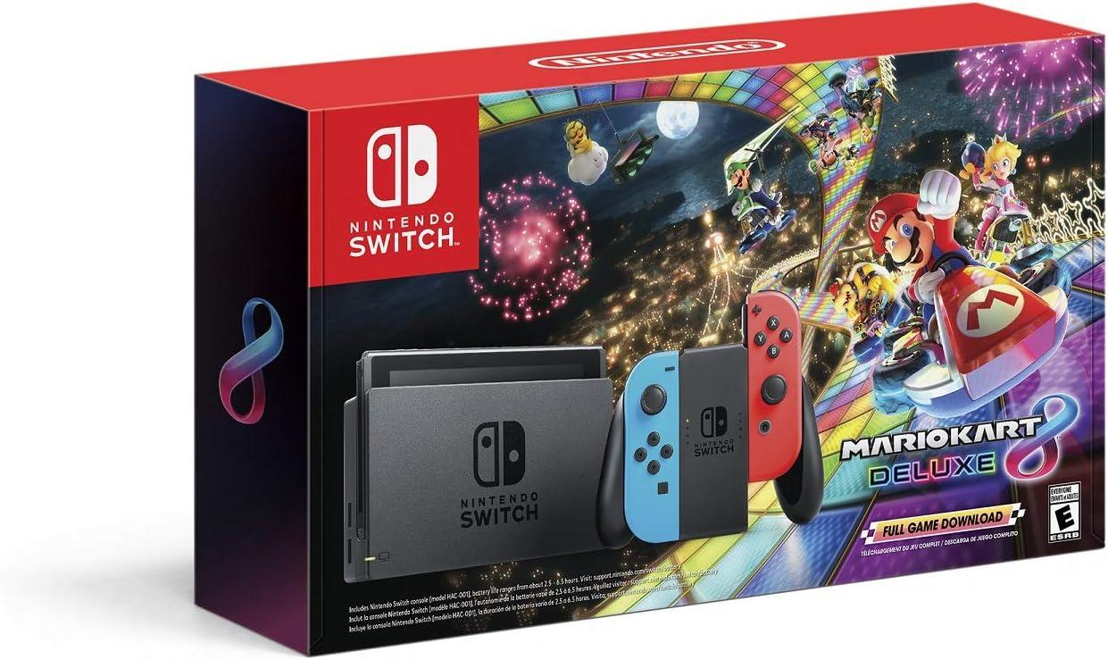 Amazon Com Nintendo Switch W Gray Joy Con Mario Kart 8