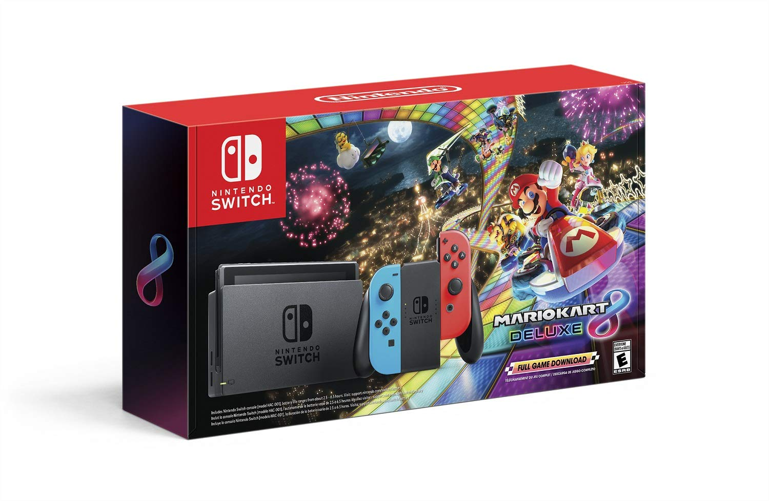 Nintendo Switch w/ Neon Blue & Neon Red Joy-Con + Mario Kart 8 Deluxe (Full Game Download) - Switch