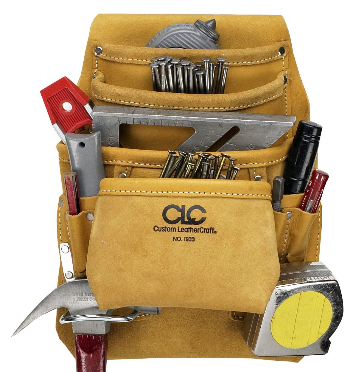 CLC Custom Leathercraft I933 Carpenter's Nail and Tool Bag, Top Grain, 10-Pocket