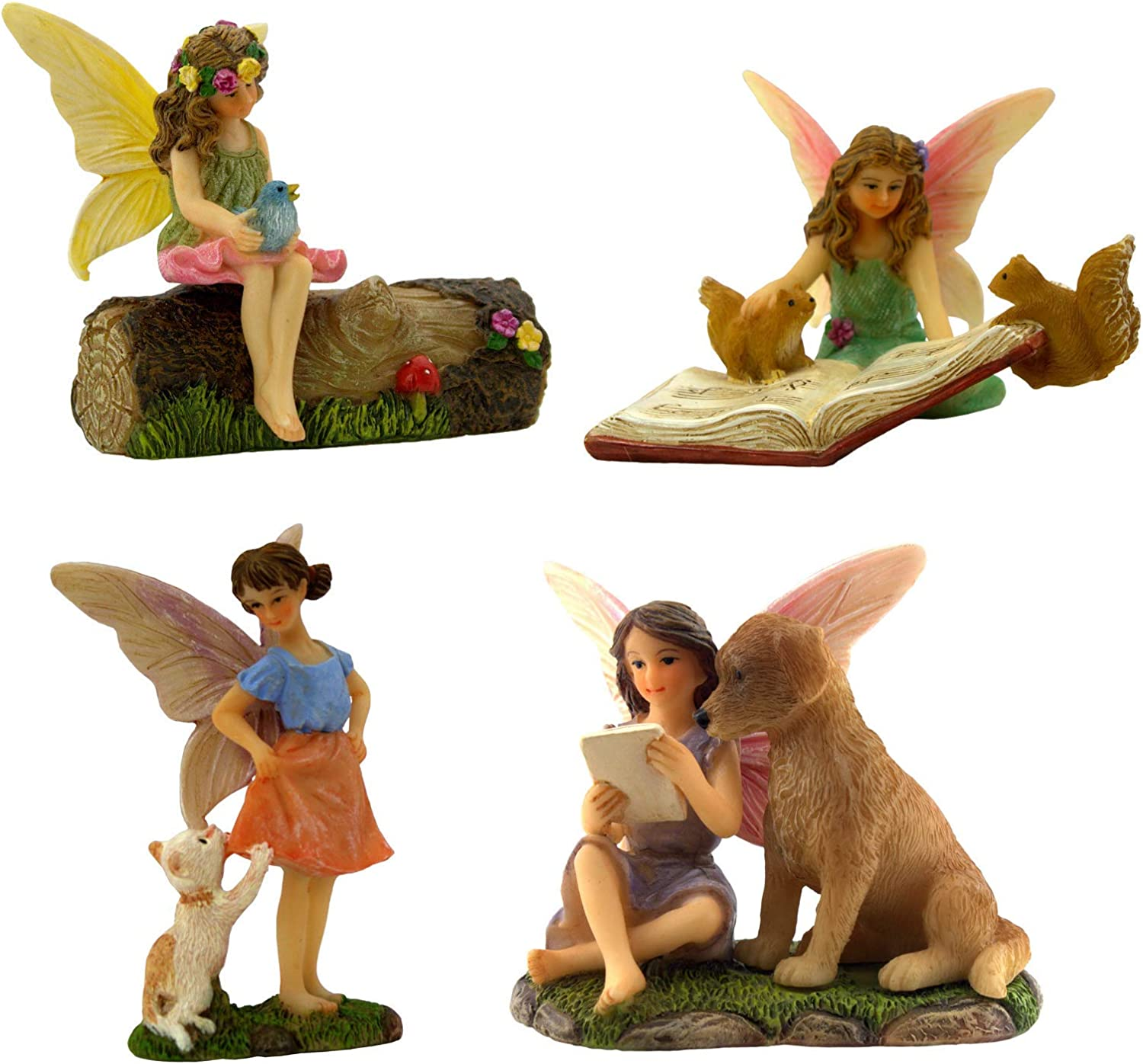PRETMANNS Fairies for Fairy Garden – Fairy Figurines for a Miniature Garden – Fairys with Their Favorite Animal Friends – Flower Decorated Resin Tree Stump Included – 5 Pieces