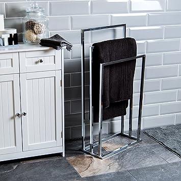 Madera de soporte para toallas con base de baño tres baldas de madera de tope para barra para: Amazon.es: Hogar