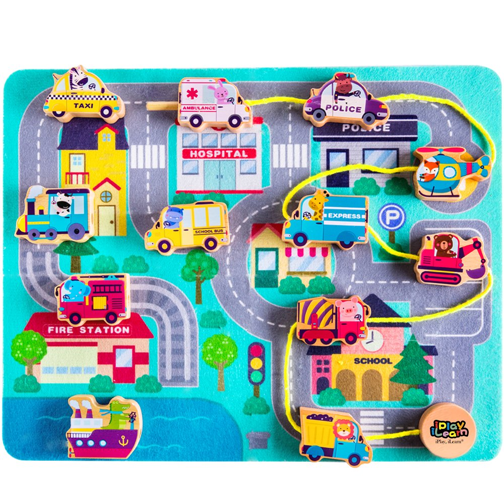 iPlay, iLearn Wooden Lacing Beads Vehicle Block Set, Learning Educational Hand String Toy Cars w/ Jigsaw Puzzle Play Mat for Age 6, 9, 12 Months and 1, 2, 3, Year Olds Baby Girls Boys Toddlers Kids