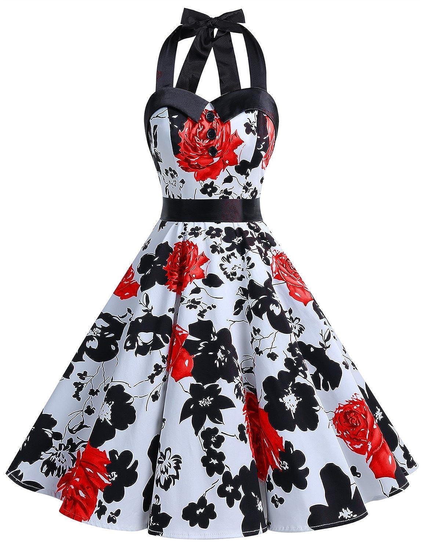TALLA XXL. Dressystar Vestidos Corto Cuello Halter Estampado Flores y Lunares Vintage Retro Fiesta 50s 60s Rockabilly Mujer Red Flower XXL