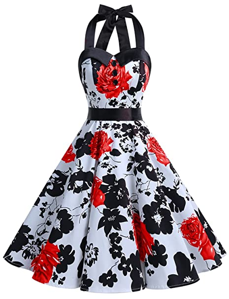 766680efab3 Dressystar Vintage Polka Dot Retro Cocktail Prom Dresses 50 s 60 s Rockabilly  Bandage Red Flower ...