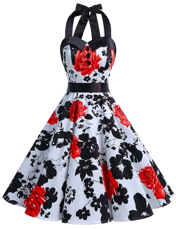 a52a9de7c Dressystar Vestidos Corto Cuello Halter Estampado Flores y Lunares Vintage  Retro Fiesta 50s 60s Rockabilly Mujer