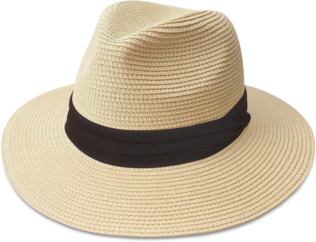 Wenyun Summer Wave Wide Brim Sun Hat Straw Hats Beach Hats Cap Reversible Hats for Women and Girls