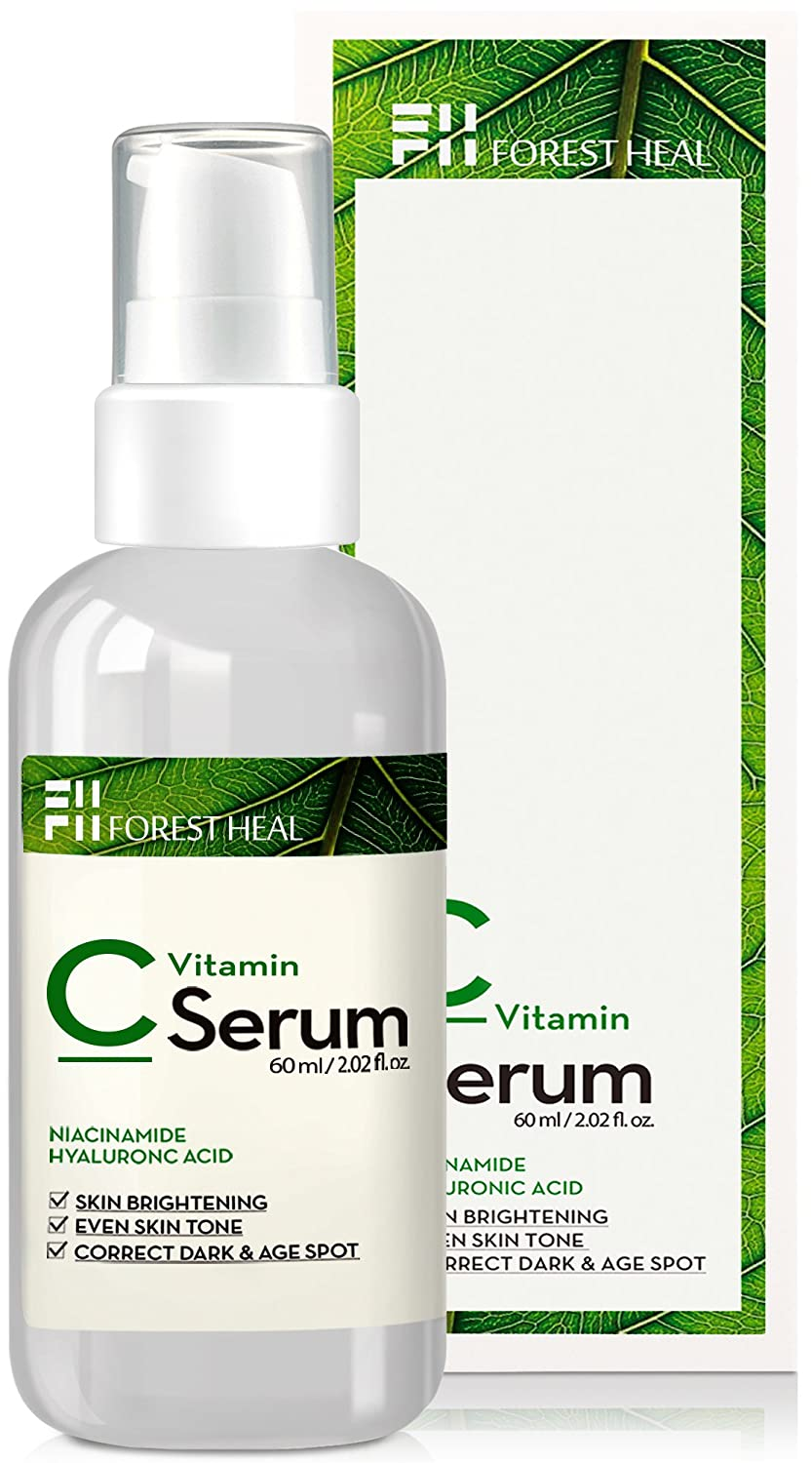 [Forest Heal] ​Anti Aging Vitamin C Serum for Face, Sun Damage Wrinkle Repair and Skin Tone Color Correct Facial Serum with ​Niacinamide,​ Hyaluronic Acid, Vitamin E B5 and D (60 ml/ 2.02 fl.oz.) ​ Hyaluronic Acid