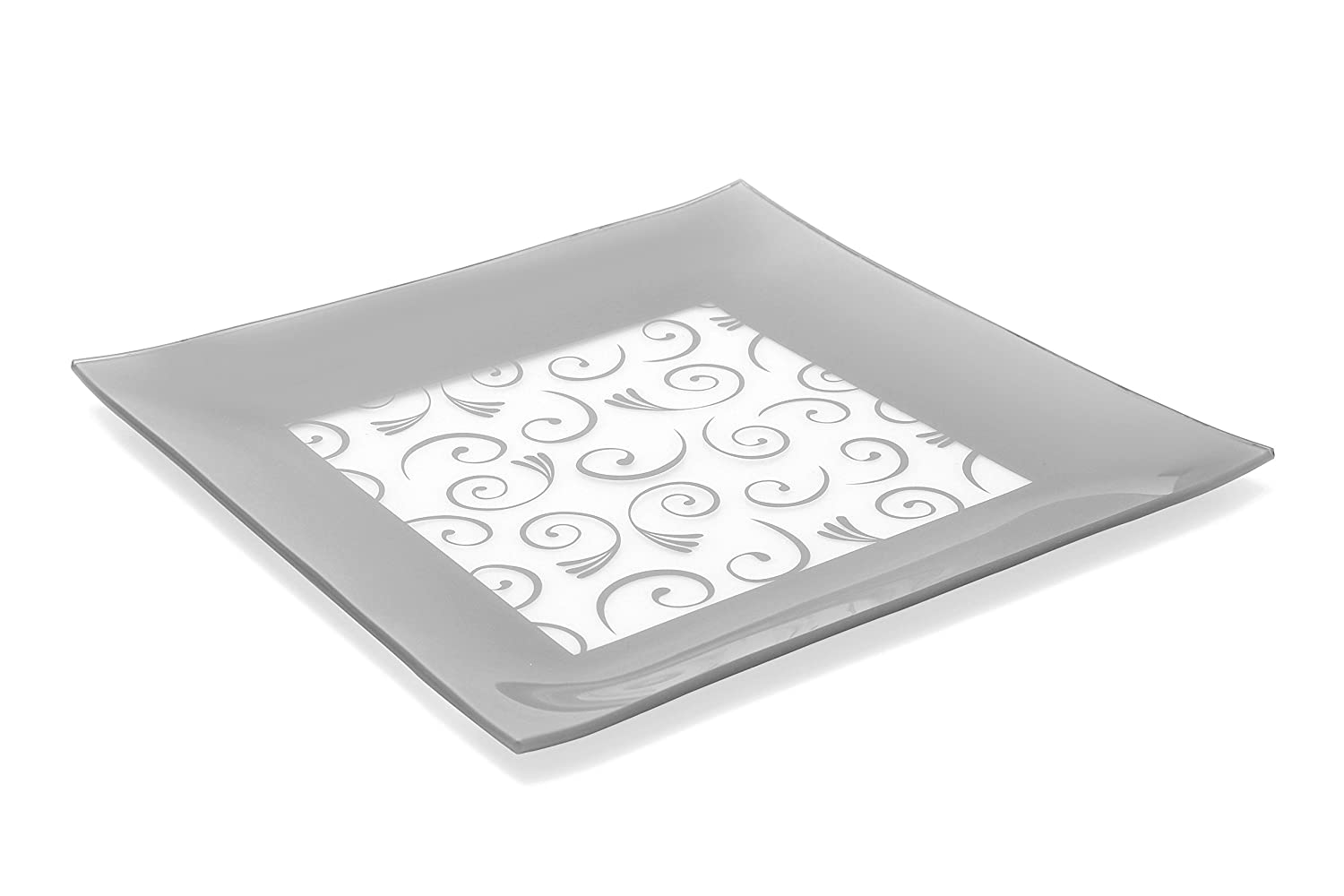 GAC Large 13 Inch Tempered Glass Tray Square Glass Platter Break and Chip Resistant – Oven/Microwave Safe – Dishwasher Safe – Decorative Paisley Pattern Plate, Glass Serving Tray