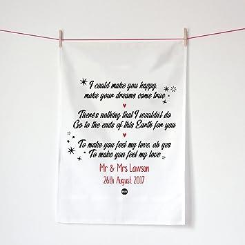 Toalla de té de la boda, boda presente Adele de primer baile, 2 nd aniversario de algodón de regalo personalizada Make You Feel Love letras Kepster toalla: ...