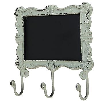 macosa - Regleta con Pizarra y 3 Ganchos Home Crema de Color Blanco Rectangular Antiguo Vintage rostig Perchero de Llaves Ganchos Toalla (15 x 15 cm): ...