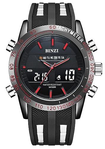 Hombre reloj, BINZI Deporte Militar de Hombres Digital Cuarzo Reloj de pulsera de lujo Digital de Pantalla LCD con Negro: Amazon.es: Relojes