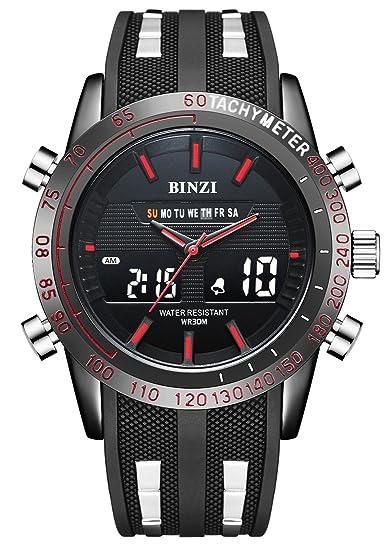 Hombre reloj, BINZI Deporte Militar de Hombres Digital Cuarzo Reloj de pulsera de lujo Digital