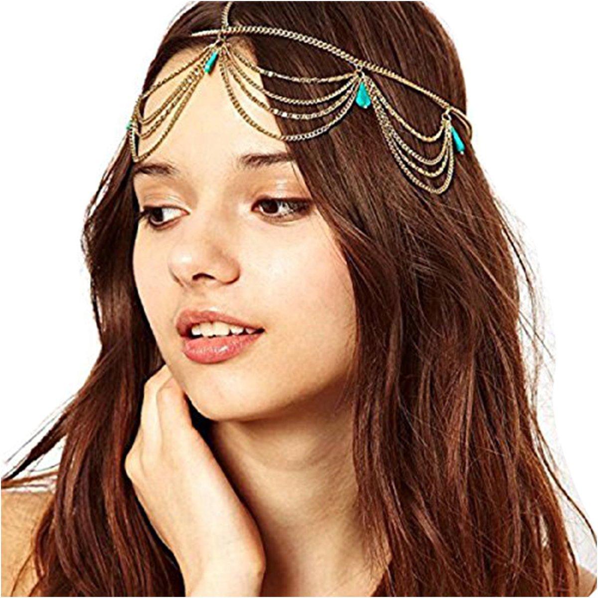 Baishitop Women Chain Headband, Imitation Turquoise Headpiece Hair Band Baishitop-220
