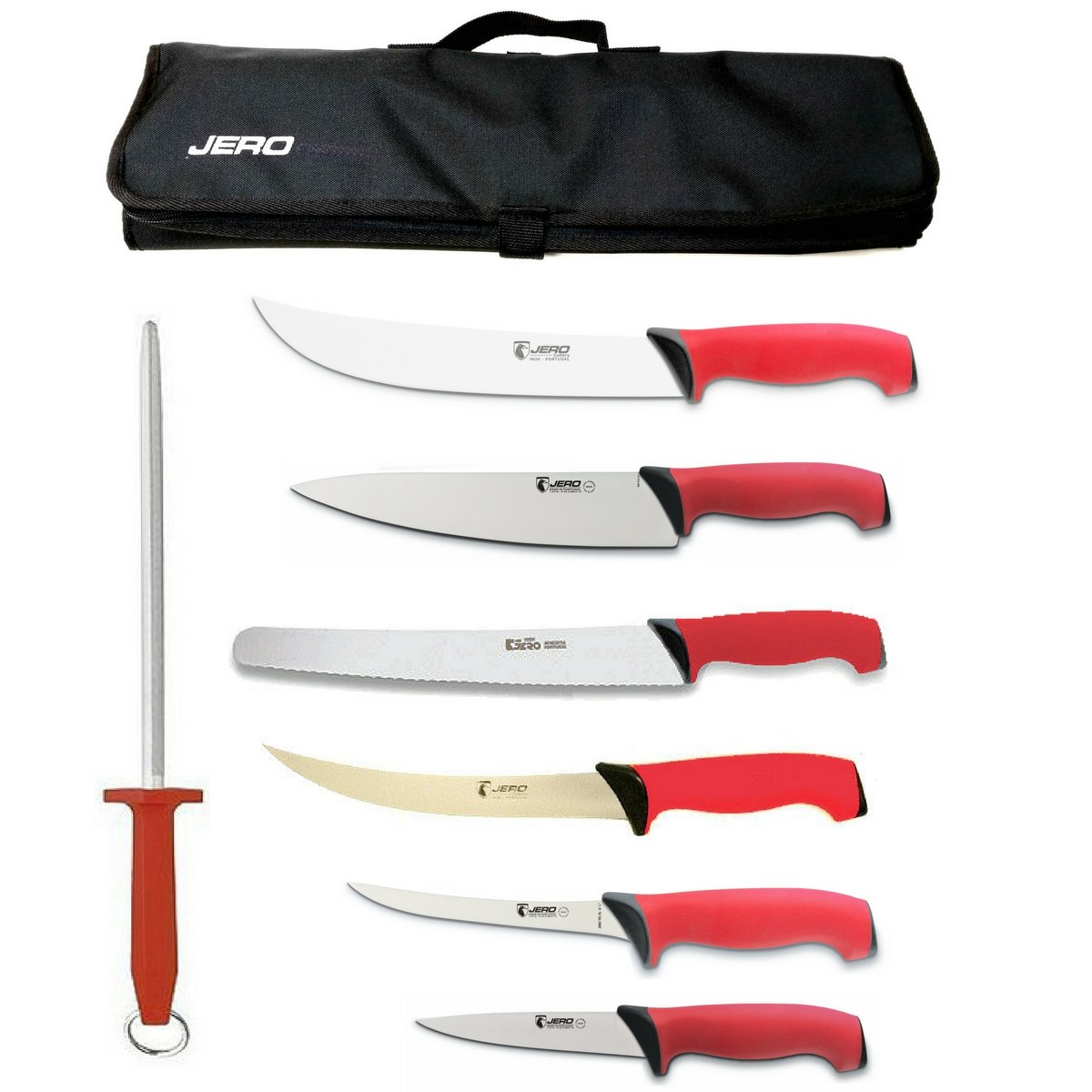 Jero TR Series 8 Piece Culinary And BBQ Knife Set Featuring Jero Knife Case And M.C.Cutlery Dual Cut German Made Steel - Commercial Grade Knives - German Stainless Steel Blades - Soft Grip Handles