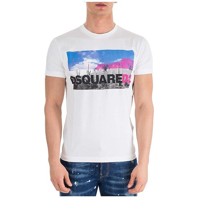 Dsquared2 Hombre es Y Accesorios Amazon Ropa Bianco Camiseta rrq5w8