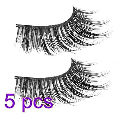 PIXNOR 5 * par de pestañas postizas a mano suave naturaleza largo largo pestañas: Belleza