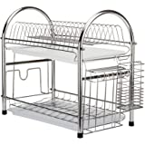 2 Tier Stainless Steel Dish Drainer Hanging Dish Rack Holder