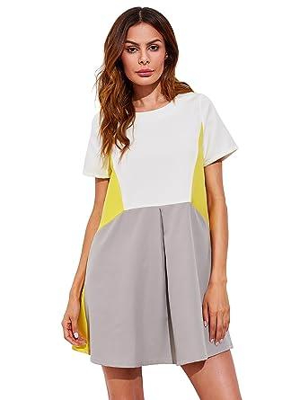 12132535e7f SheIn Women s Cute Short Sleeve Pockets Color Block Casual Swing Tunic  Dress X-Small Yellow