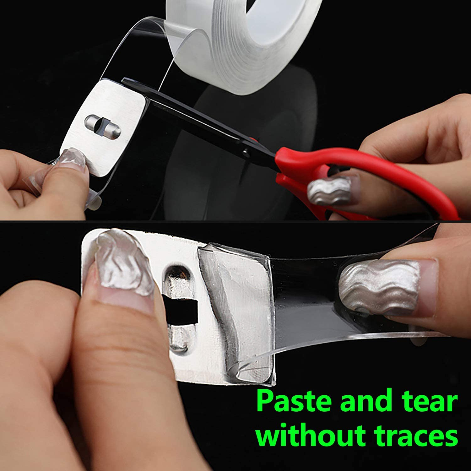 Gel Grip Tape Duty Clear Silicone Tape for Paste Photos Fix Carpet Mats Pen Key 9.85ft Nano Adhesive Tape Double Sided Tape Traceless Washable Removable Reusable Many Times Adhesive