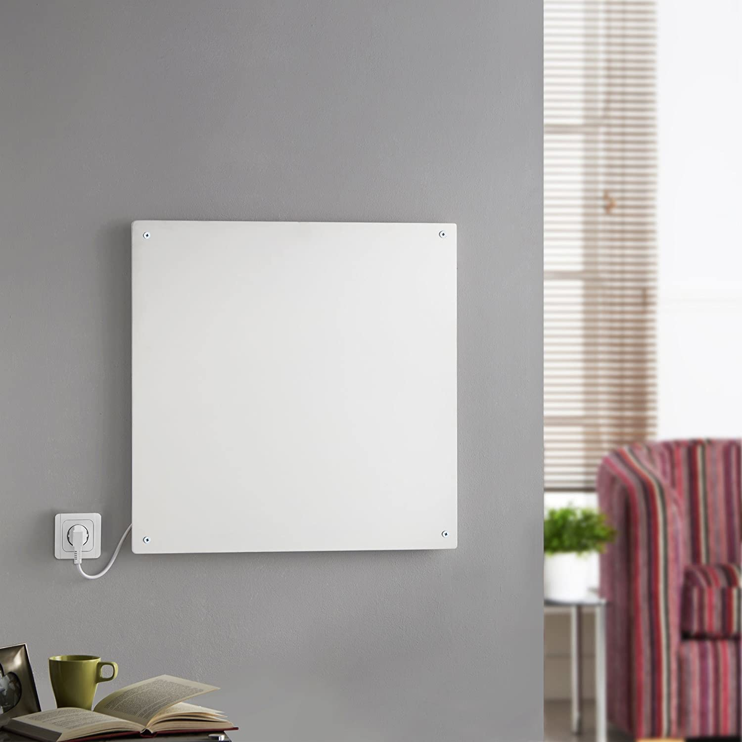 Slimline electric heaters wall mounted - Amazon Com Vonhaus 450w Wall Mounted Electric Flat Panel Heater Paintable Slimline Low Energy Eco Ceramic Space Heater 23 5 X 23 5 X 0 4 Kitchen