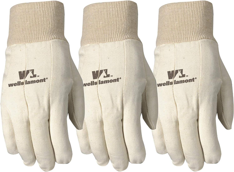 Wells Lamont Canvas Work Gloves, Standard Weight, Wearpower, Large, 3 Pack (48LF)