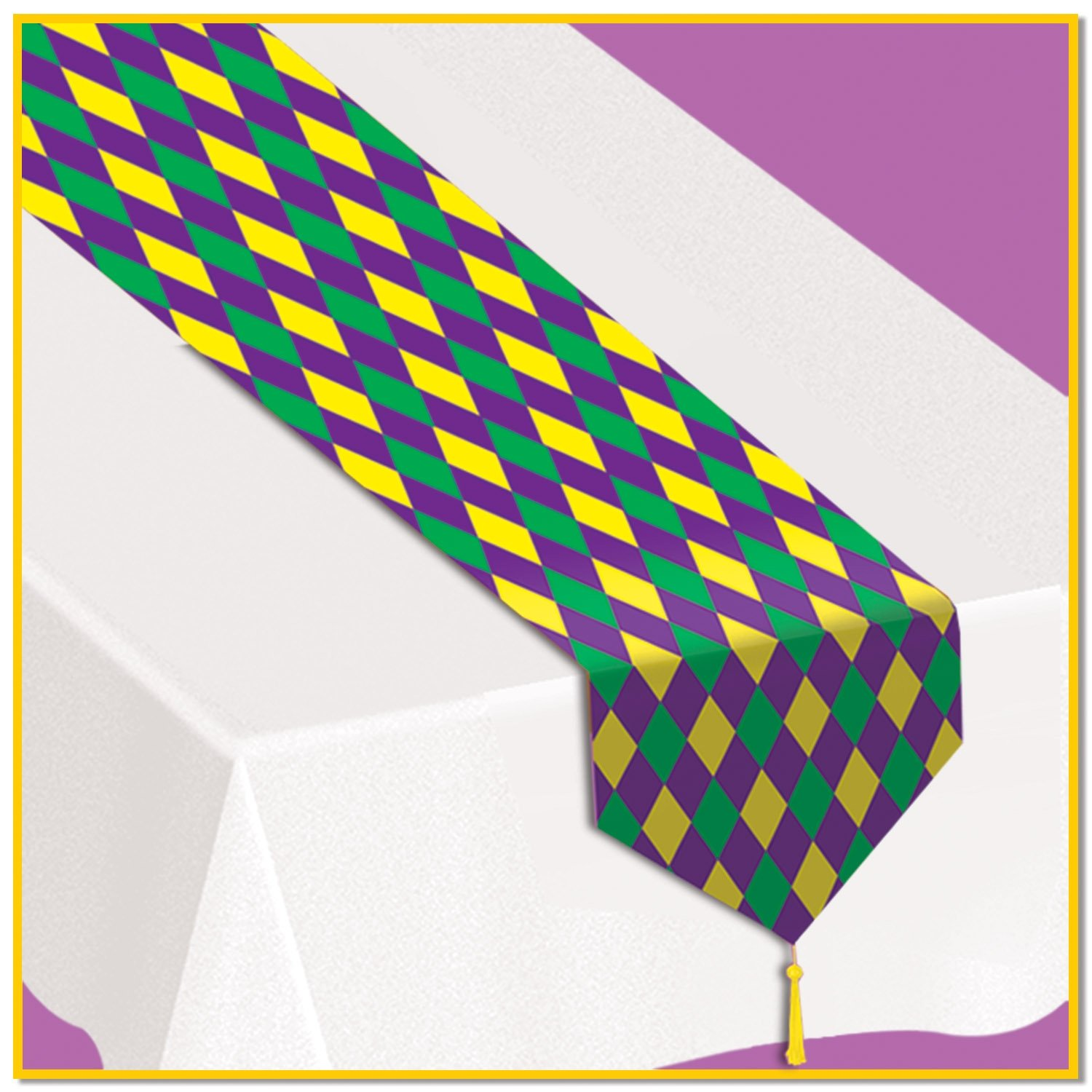 Printed Mardi Gras Table Runner Party Accessory (1 count) (1/Pkg)