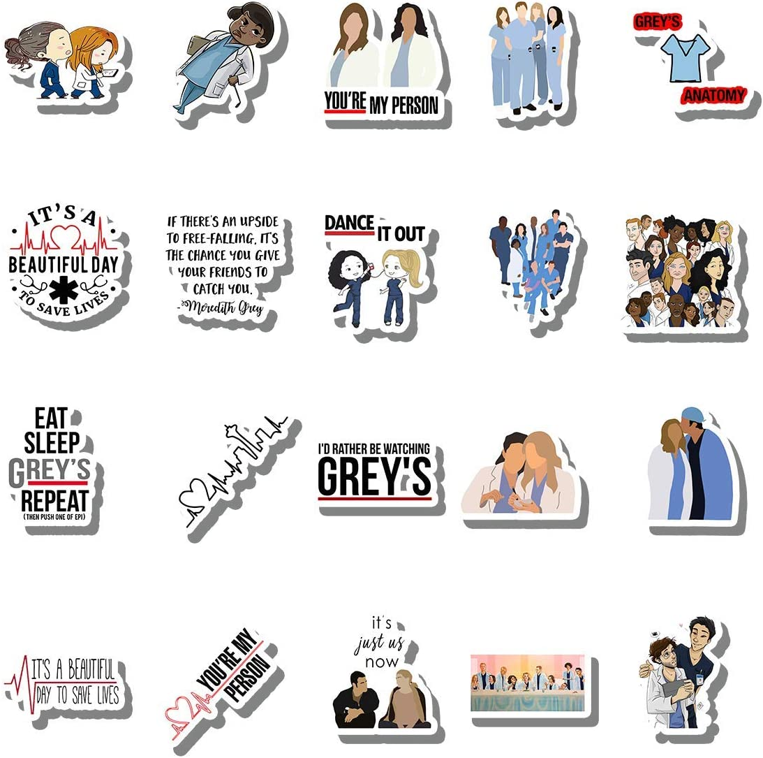20 PCS Stickers Pack Grey Aesthetic Anatomy Vinyl Colorful Waterproof for Water Bottle Laptop Scrapbooking Luggage Guitar Skateboard