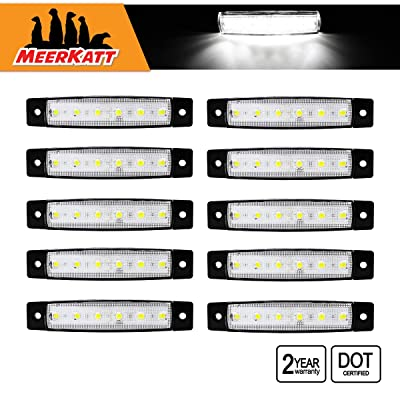 Meerkatt (Pack of 10) 3.8 Inch White 6 LED Side Clearance Indicators Marker Light Trucks Trailers Boat RV Bus Jeep Lorry Ambulance SUV Sedan Caravan Rear Tail Back Up Reverse Lamp 12v DC Model TK12: Automotive
