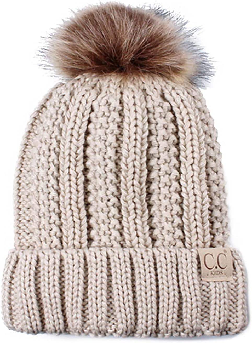 Funky Junque Kid Toddler Thick Knit Fuzzy Lined Faux Fur Pom Beanie Hat Cap